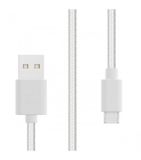 STURDO NKA-0017-STU-MICRO DATOVY TEXTILNY KABEL MICRO USB 2A, 1,5 M, BIELY