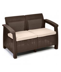 ALLIBERT /214770/ POHOVKA CORFU LOVE SEAT BROWN + BEIGE