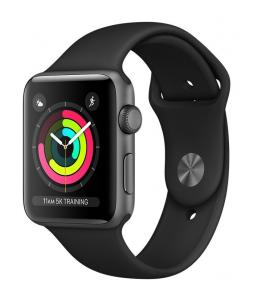 APPLE WATCH SERIES 3 GPS, 42MM SPACE GREY ALUMINIUM CASE WITH BLACK SPORT BAND, MTF32CN/A