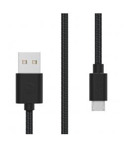 STURDO NKA-0016-STU-MICRO DATOVY TEXTILNY KABEL MICRO USB 2A, 1,5 M, CIERNY